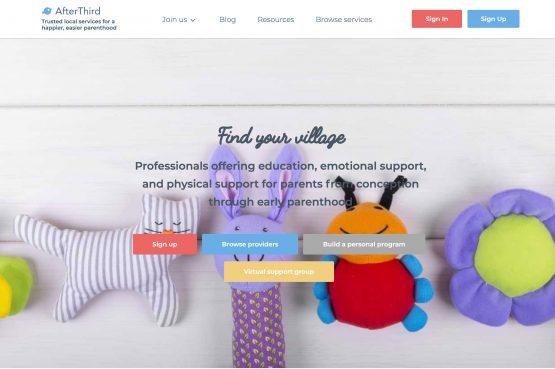 screenshot of AfterThird website homepage