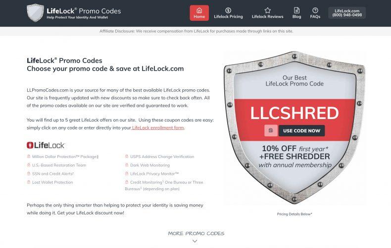 screenshot of LifeLock Promo Codes website homepage