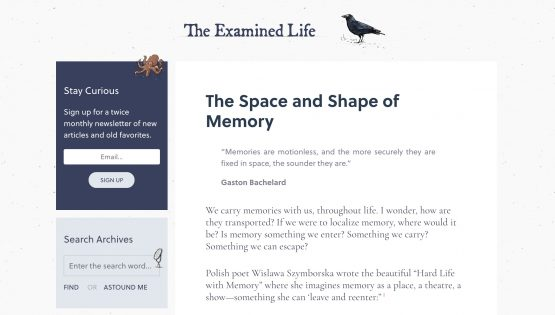 screenshot of The Examined Life website homepage