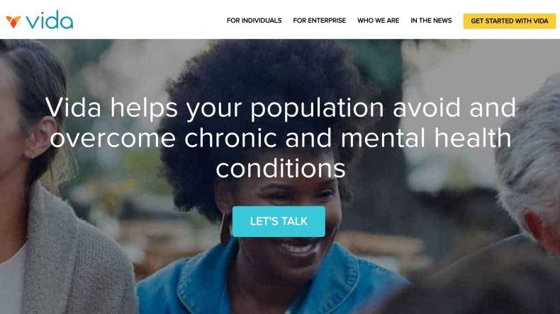 screenshot of Vida website homepage