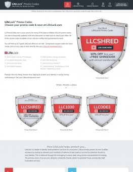 LifeLock Promo Codes website homepage screenshot