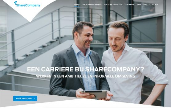 screenshot of Werken bij Sharecompany website homepage