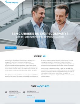 Werken bij Sharecompany website homepage screenshot