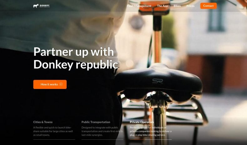 screenshot of Donkey Partners website homepage