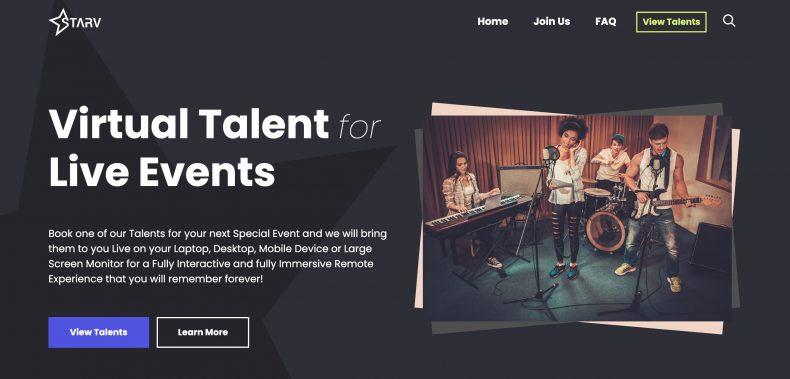 screenshot of STARV website homepage