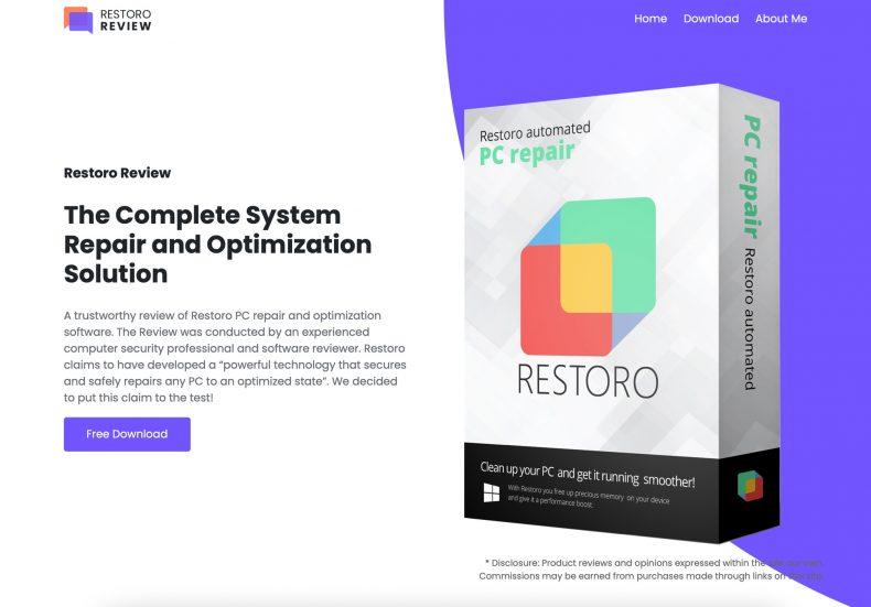 screenshot of Restoro Review website homepage