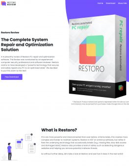 Restoro Review website homepage screenshot