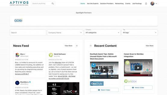 screenshot of Aptivos website homepage